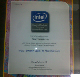 Piagam Intel partner 2008