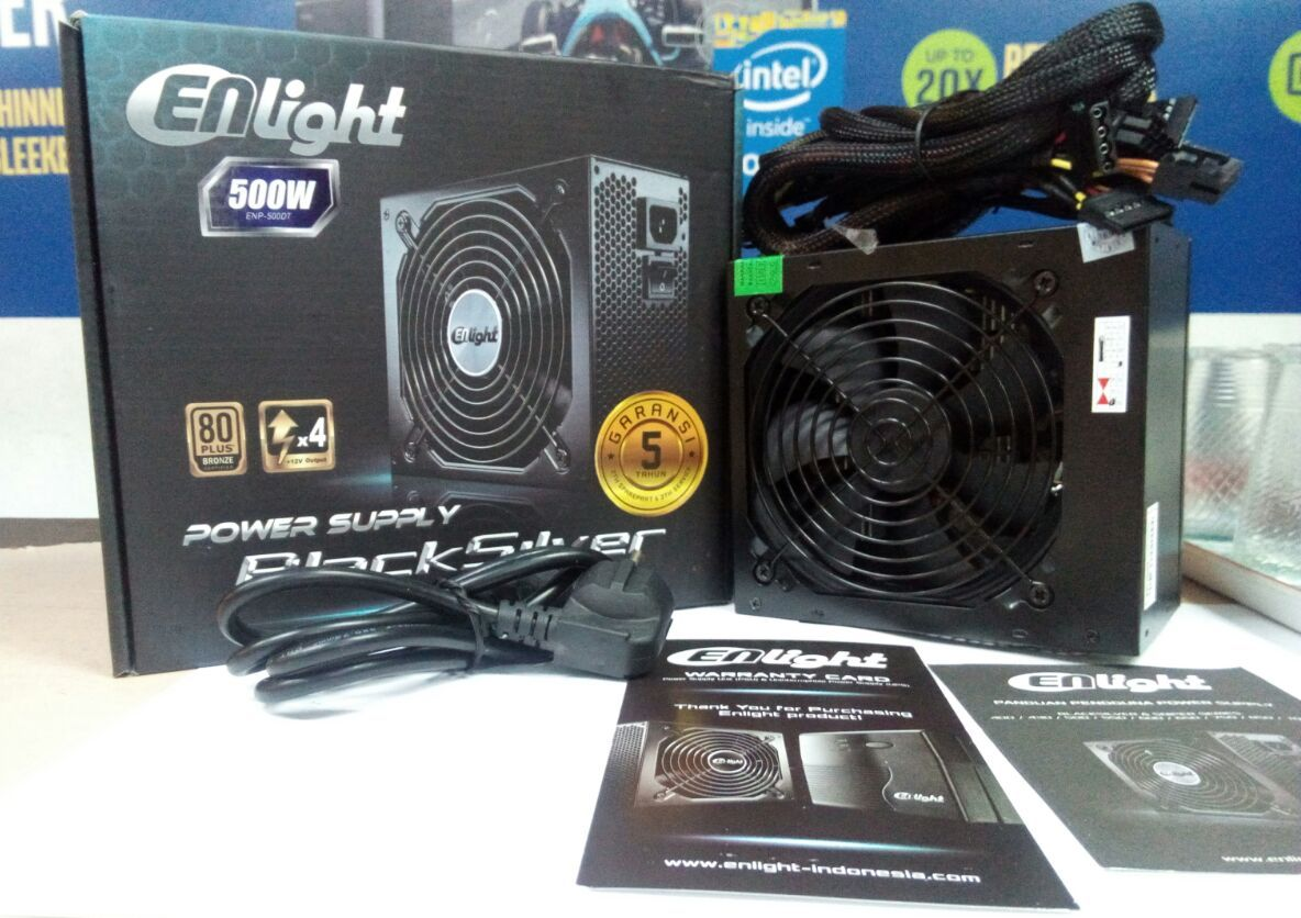 Power Supply Enlight Black Silver 500 Watt 80+ Bronze Garansi 5 Tahun