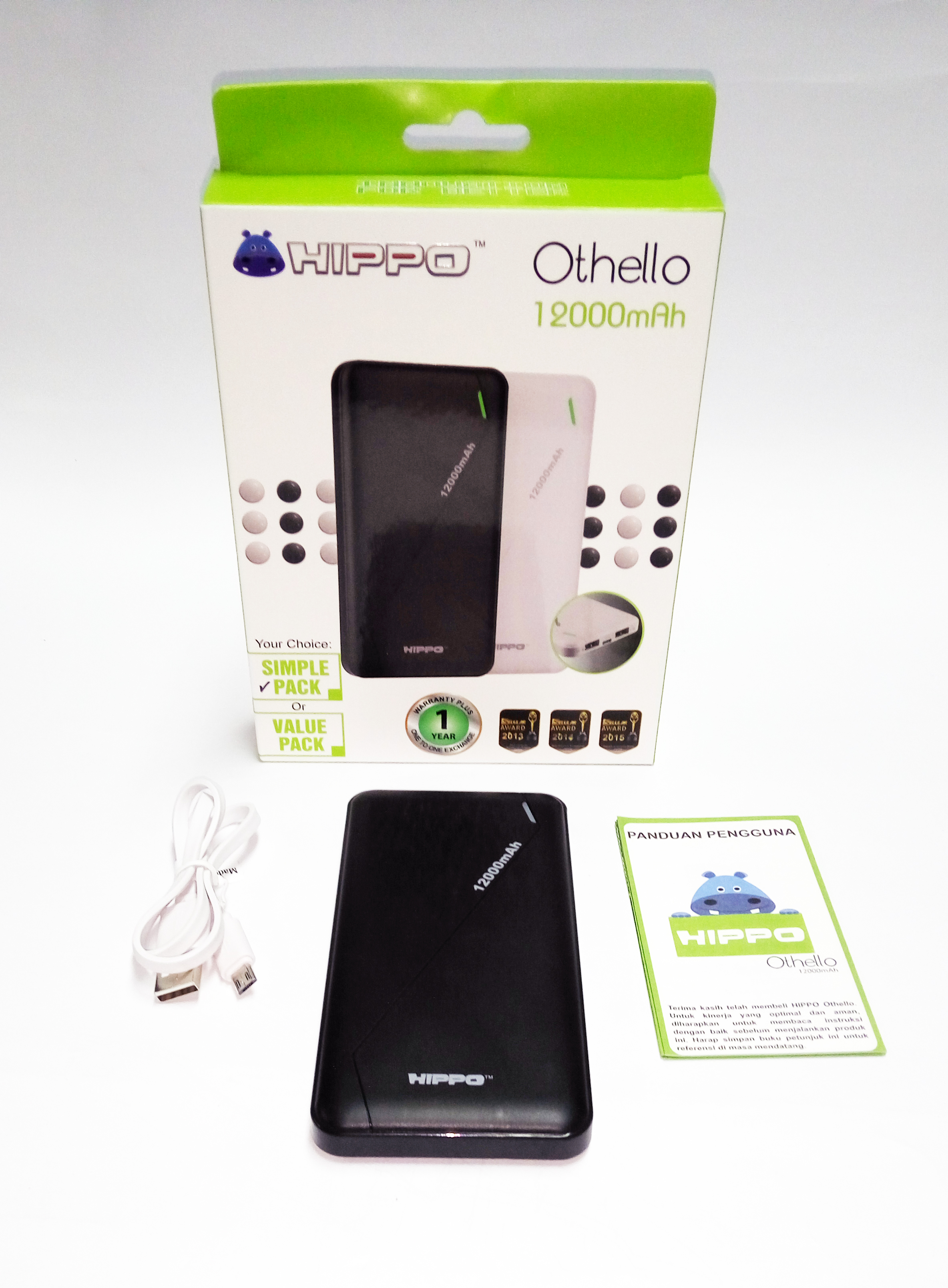 Power bank hippo 12.000 mah othello simple pack (baru) - k-galaxy.com