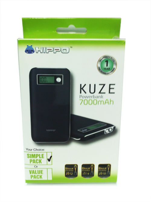 POWER BANK HIPPO 7000 MAH KUZE SIMPLE PACK (BARU)